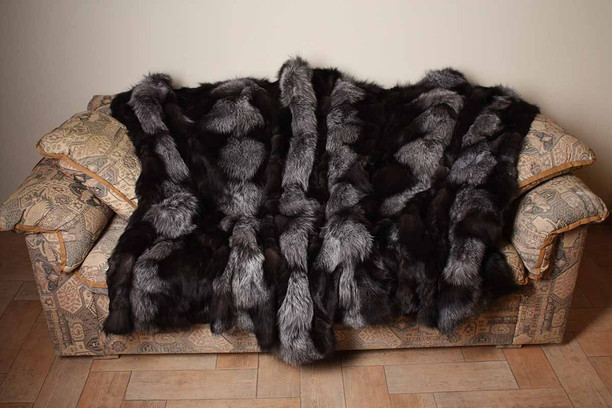 silver fox fur blanket available in throw , queen , twin and king size