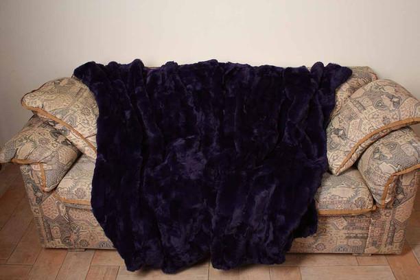 Deep Purple Rex Fur Blanket Throw  sutibale for bedroom or sofa or armchair