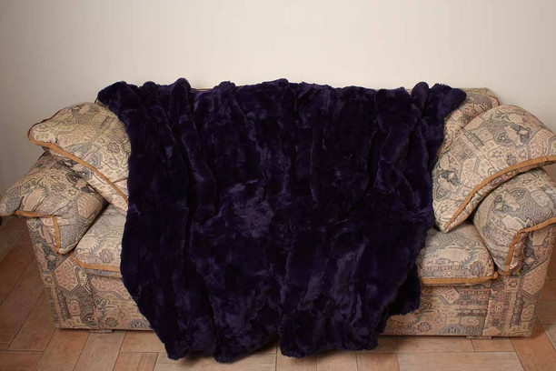 Deep Purple Rex Fur Blanket Throw  sutibale for bedroom or sofa or armchair