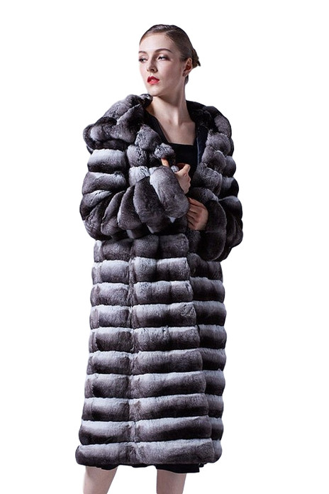 Long Chinchilla Coat Hooded 3/4 Length with skins stitched across on model with french hair knot