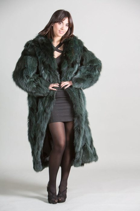 Green Fox Fur Coat  with shawl collar Full Length on model front view