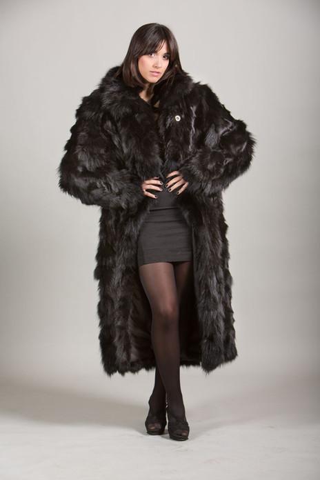black fox fur coat 4/5 length sectional front view