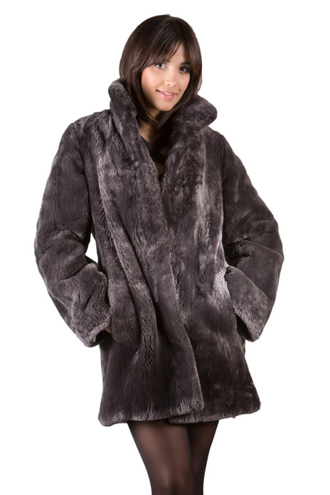 Gray Sheared Beaver Fur Coat