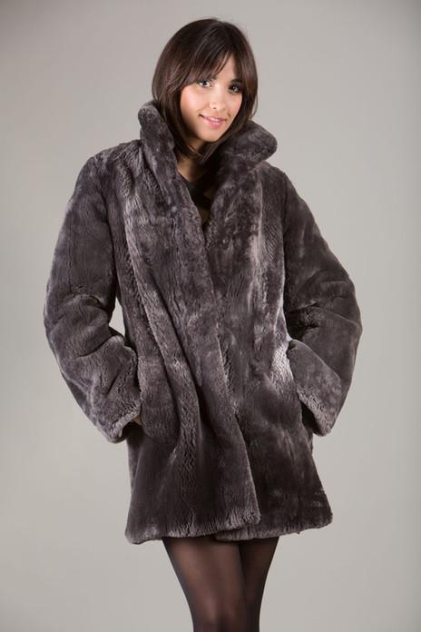 Gray Sheared Beaver Fur Coat mid hip length