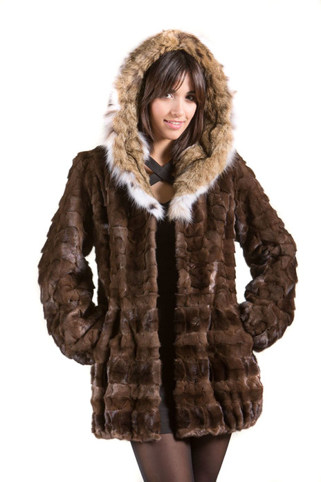 Brown Mink Fur Coat with Lynx Hood on Ending on  Mink Shawl Collar