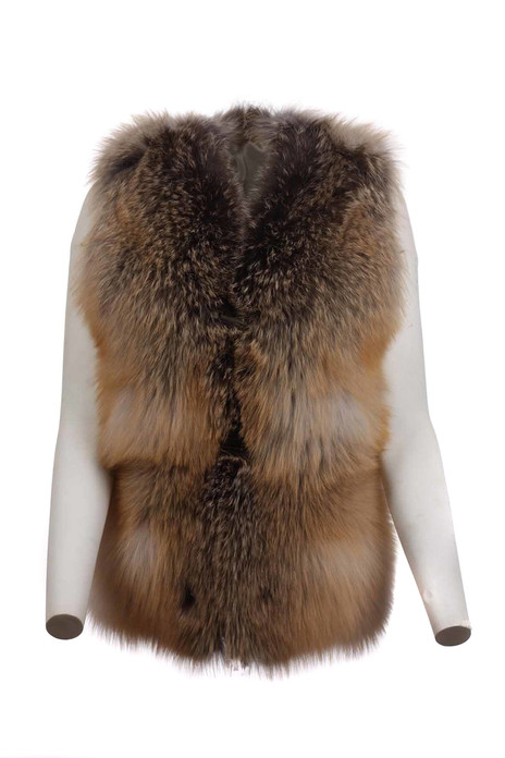 Golden island  Fox Fur Vest Let Out Aysel feathered