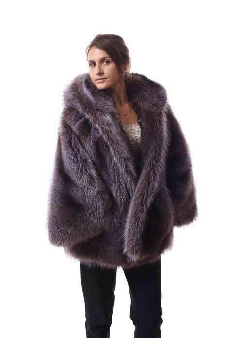 Purple Racoon Fur Cape Hooded  on model with hood off