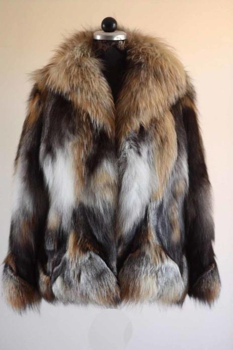cross fox fur coat with shawl collar waist length