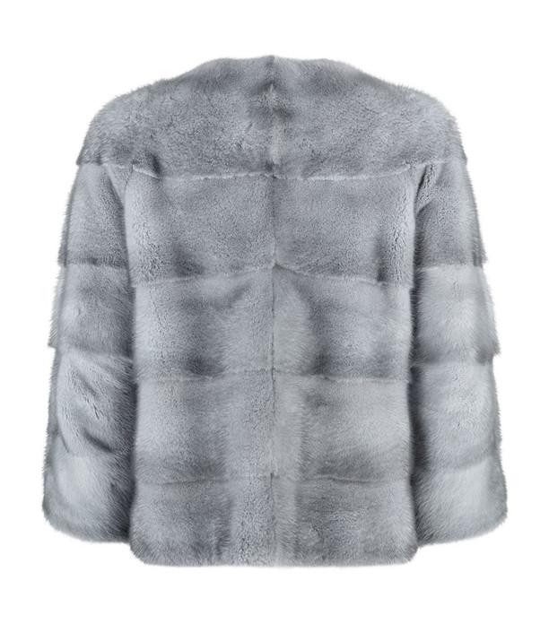 blue iris mink fur coat collarless short sleeves