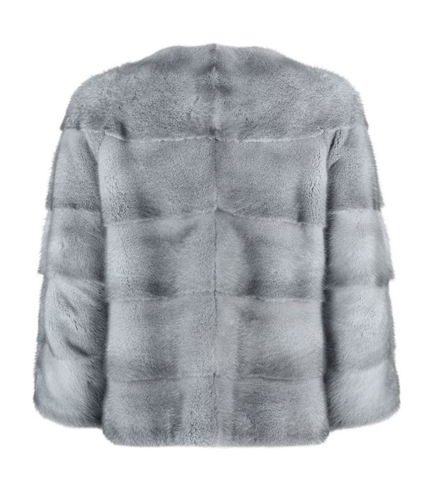 blue iris mink fur coat collarless short sleeves