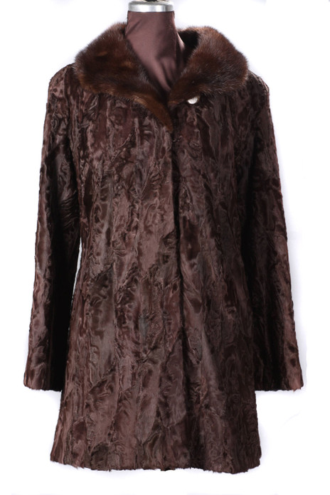 Brown Persian Lamb Fur Coat Mink Fur Collar Fit in Waist