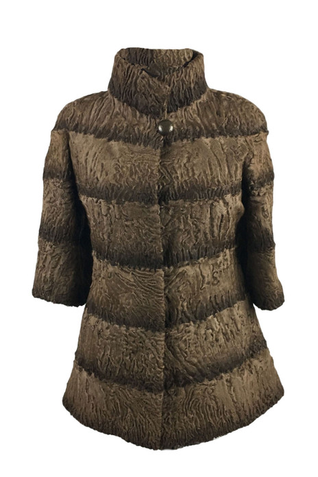 Light Brown Persian Lamb Fur Jacket Short Sleeved  Jacoba