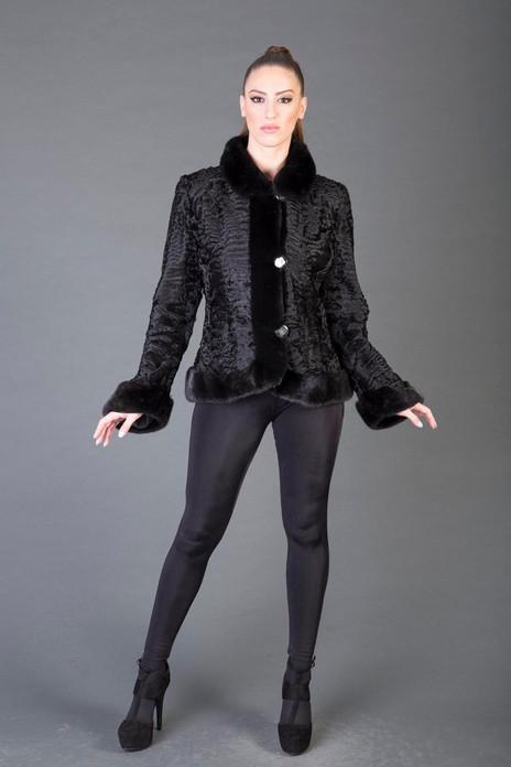 Black Persian Lamb Fur Jacket with Mink Trim on model