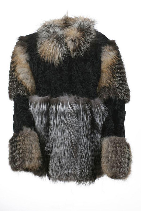 Black Persian Lamb and Fox Fur coat
