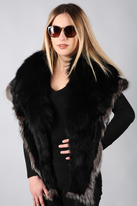 black and silver fox fur collar on model fron view