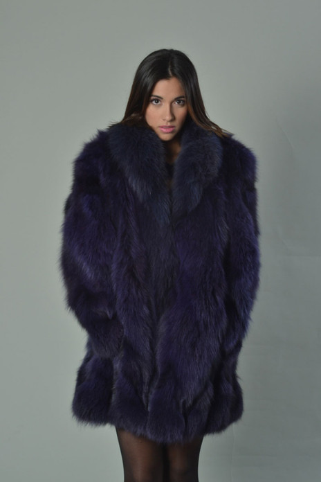 Purple Fox Fur Coat  with shawl fox collar halfskin knee length