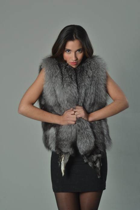 Blue Frost Fox Fur Vest Full Pelt super hot