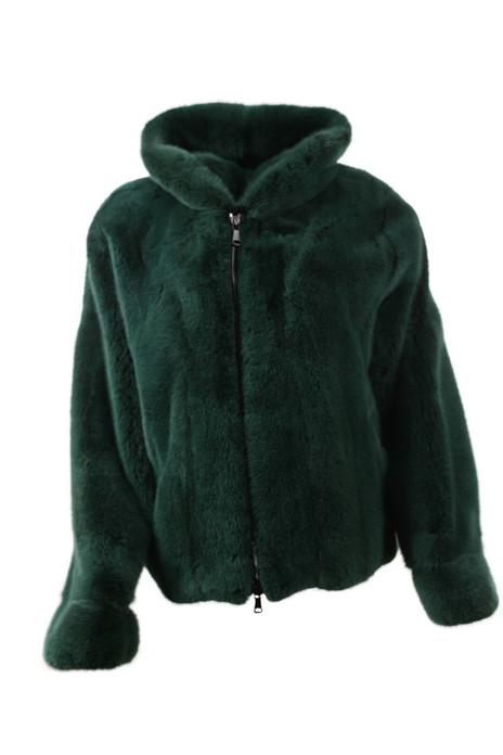 Men's Green Mink Fur Bomber Hooded  front view
