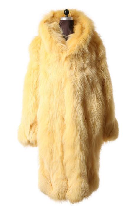 Yellow Fox Fur Coat Hooded Full Length