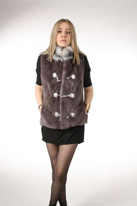 Soft Purple Sheared Beaver Fur Vest Platinum Fox Collar on model frontal view