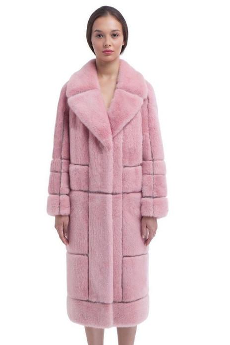 sheared Pink Mink Fur Coat with Mink Shawl Collar