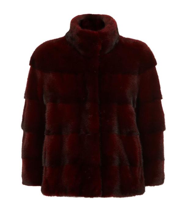 Burgundy Mink fur coat stand up collar