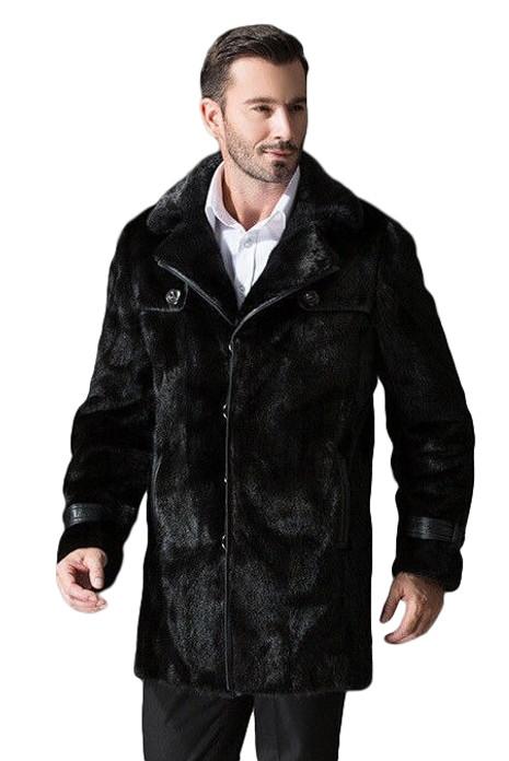 Black Mink Fur Coat Leather Details on male model
