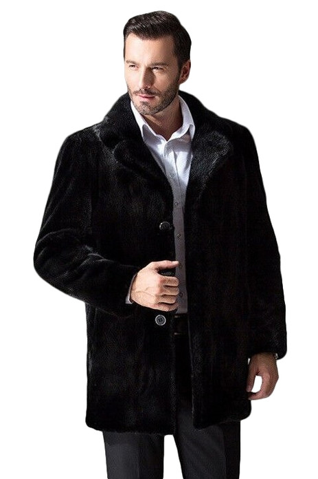 Black Mink Fur Coat Classic mens notched collar