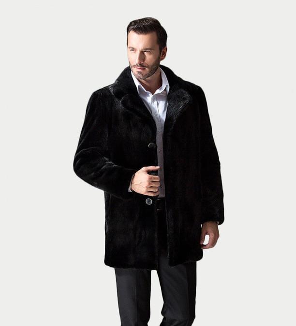 Black Mink Fur Coat Classic mens notched collar