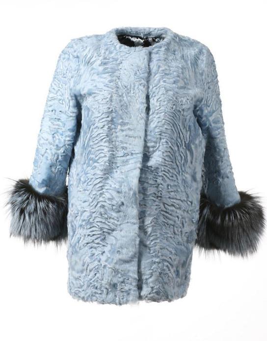 Acqua Persian Lamb Fur Coat Fox Cuffs