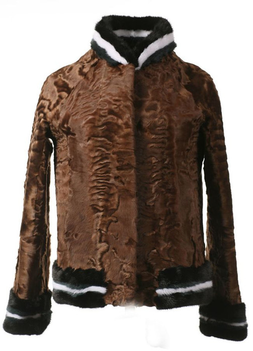 Brown Persian Lamb Fur Jacket with Mink Trim