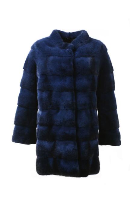 Blue Black Mink Fur Coat with Stand Up  Mink Collar