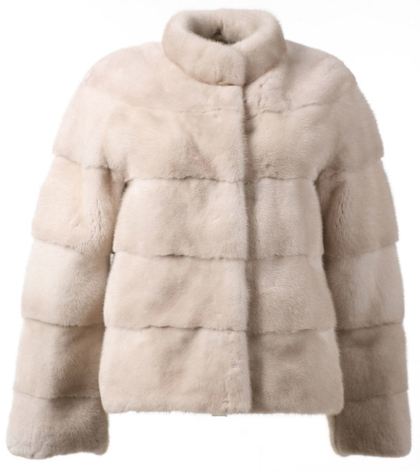 Pearl Mink Fur Jacket with stand up collar skins sewn across boxy cut