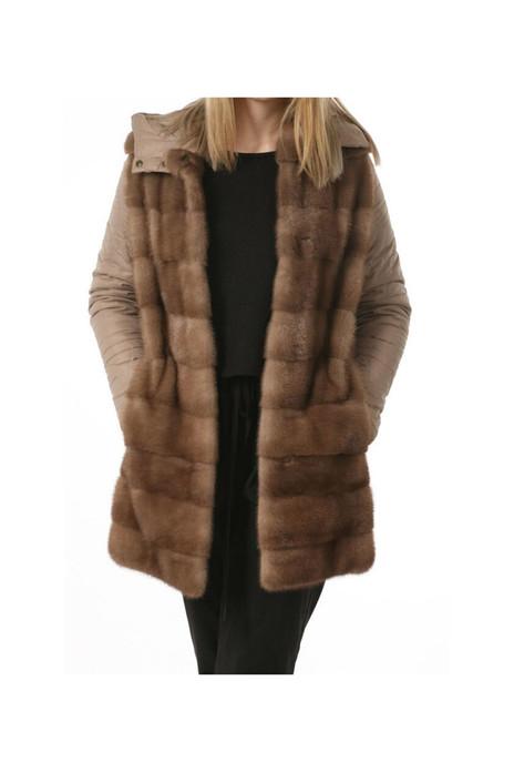 Pastel hooded  mink fur coat on model