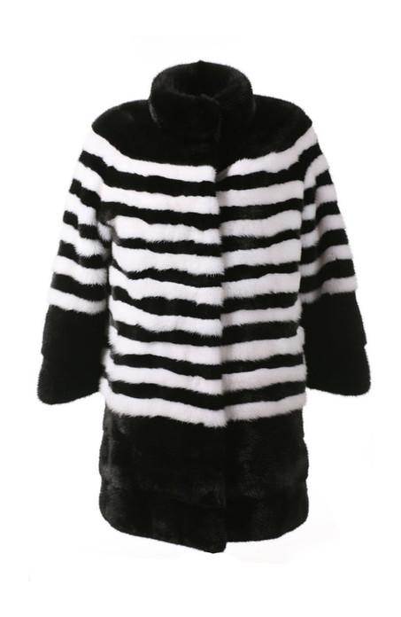 Black and White Striped Mink Fur Stroller ghost mannequin