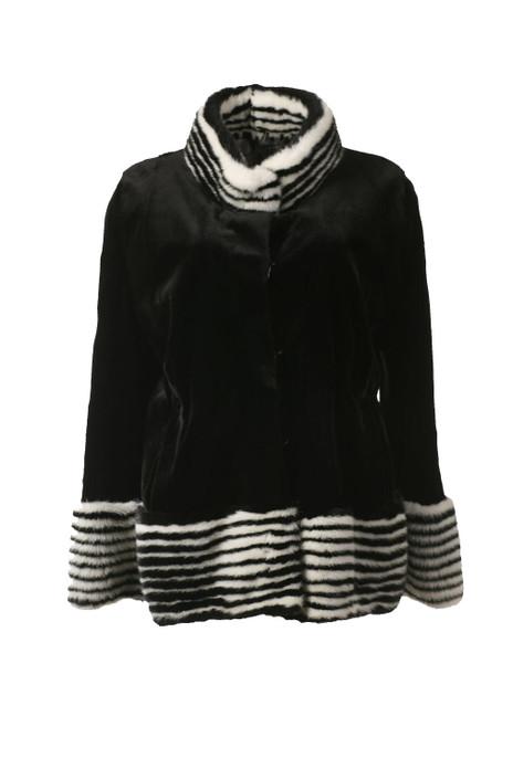 Black and White Mink Fur Jacket Athena