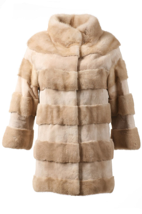 Beige  Mink Fur Jacket combination of sheared and natural mink fur