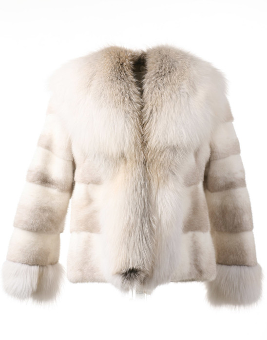 Pearl Mink Fur Jacket with Golden fox fur waterfall and tie strings