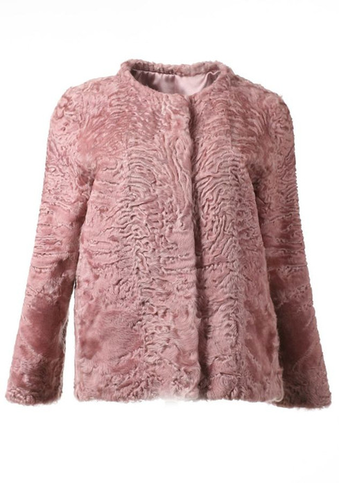 Pink Persian Lamb Fur Jacket Carmen