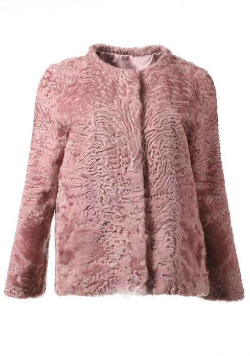Pink Persian Lamb Fur Jacket Carmen