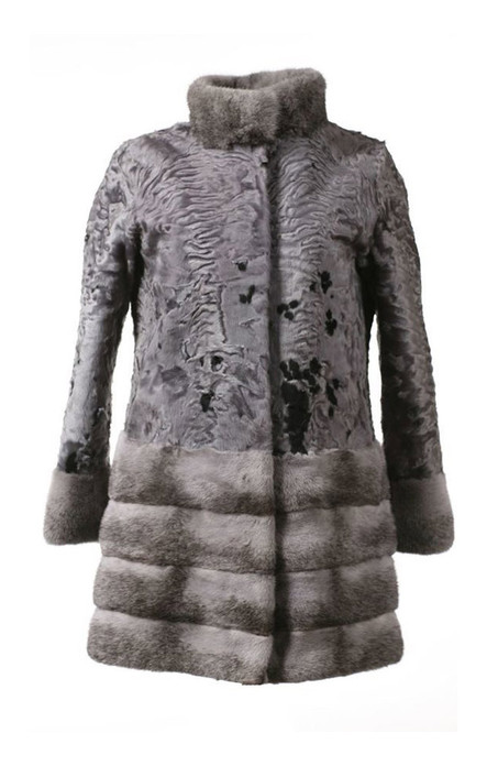 Charcoal Gray Persian Lamb and Silver Mink Fur Stroller