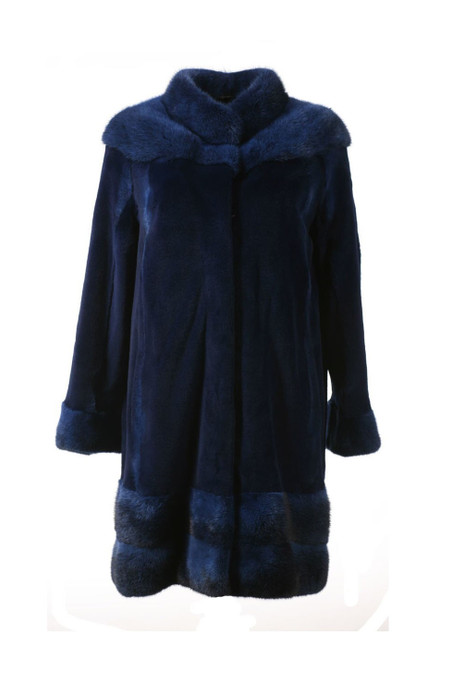 blue sheared mink fur stroller with stand up collar