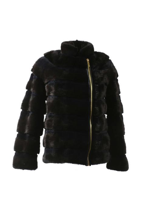 black mink biker jacket