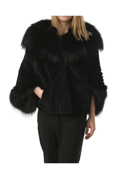 Pastel hooded  mink fur coat