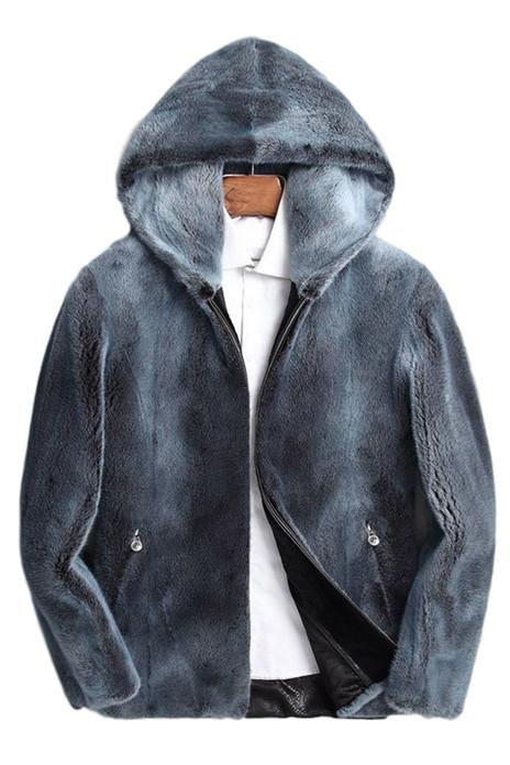 mens mink fur coat blue jean colored with hood and zipper