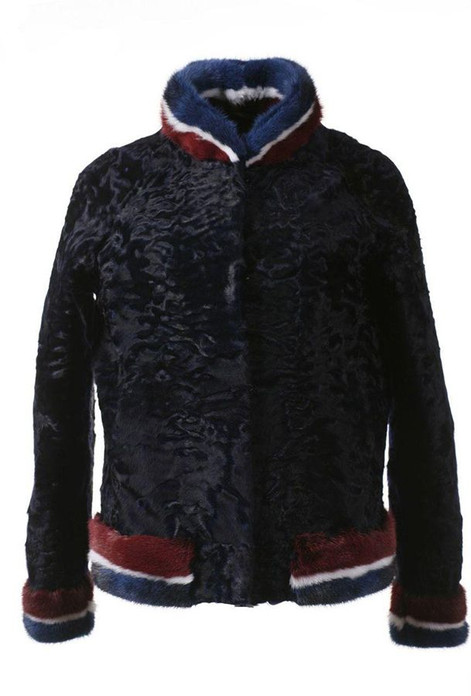 Black Swakara Lamb Fur College Jacket