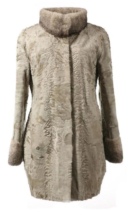Gray Swakara Lamb Fur Coat Hourglass Kim