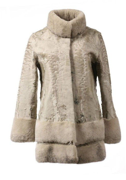 Light Gray Swakara Lamb Fur Coat with Mink Skirt