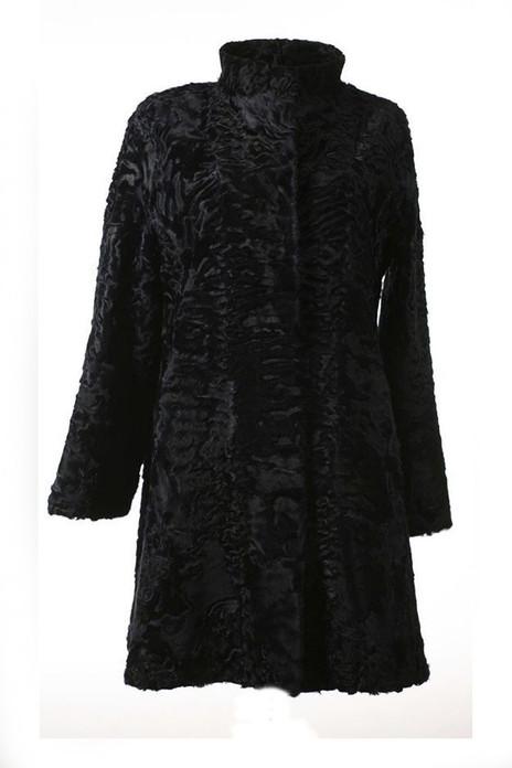 Black  Swakara Lamb Fur Coat  London