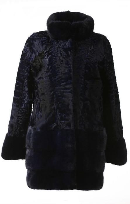 Blue Black Swakara Lamb Fur Coat Northern Star